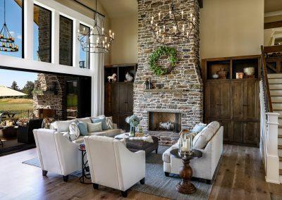 Open floorplan fireplace