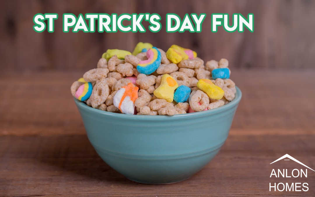 bowl of lucky charms cereal with text: St. Patrick's Day Fun